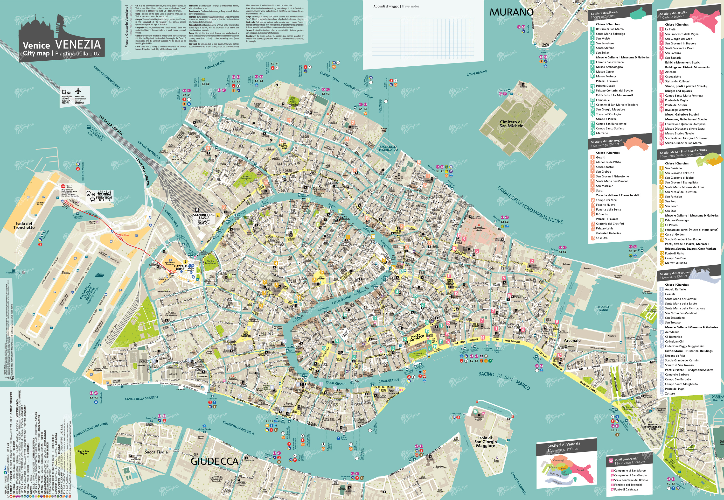 Cartina Turistica Venezia.Venice City Map Mappa Di Venezia Venice City Plan